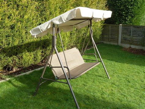 canopy for swing brown 3 seater garden swing seat hammock metal frame