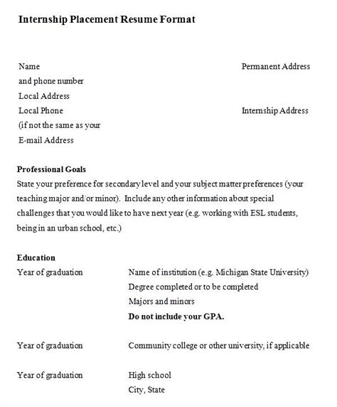 Curriculum Vitae Format Internship by Internship Placement Resume Format Free Sles