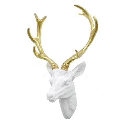 three hands home decor three hands resin deer head wall decor 74159 the home depot