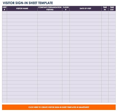 Free Sign In And Sign Up Sheet Templates Smartsheet Visitor Sign In Sheet Template