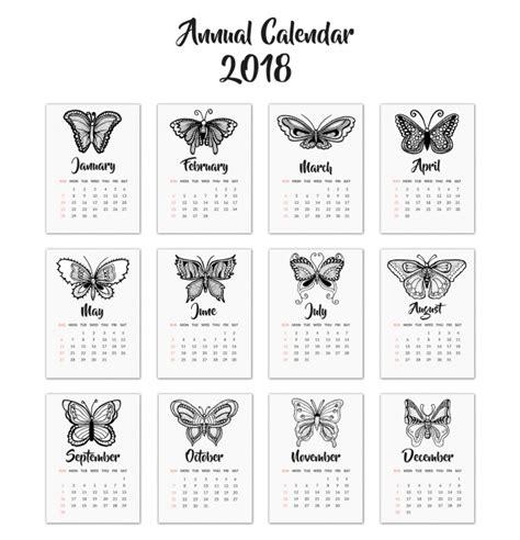 Calendario 2018 Vetor Calendario 2018 Con Mariposas Descargar Vectores Gratis
