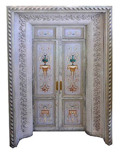 Decorated Doors by Pair Of Late Louis Xvi Polychrome