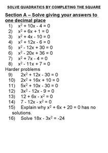 Solve By Completing The Square Worksheet by Solve Quadratics By Completing The Square 6th 8th Grade