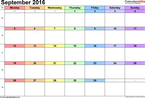 Calendar Templates 2016 September 2016 Printable Calendar Blank Templates