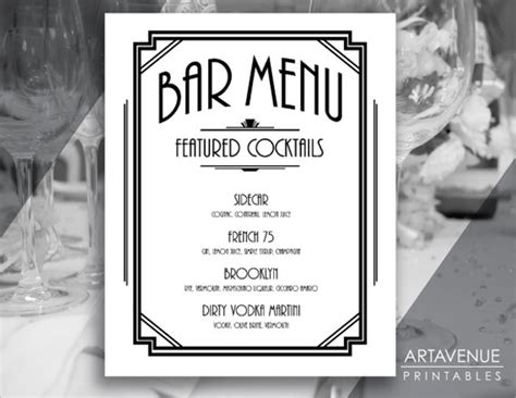 30 Bar Menus Sle Templates Personalized Menu Template