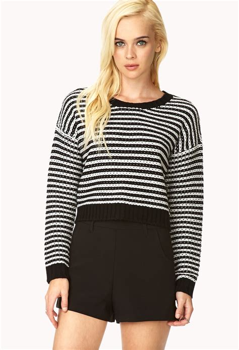 cropped sweater lyst forever 21 bold stripes cropped sweater in black