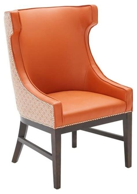 Winged Dining Chairs Occasional High Back Winged Dining Chair Stencil Orange Contemporary Dining Chairs By Artefac