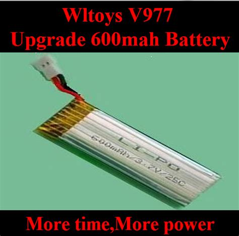 V977 Upgrade Batt 600mah upgrade wltoys v977 helicopter battery 3 7v 600mah 25c li poli battery akku for wltoys v977