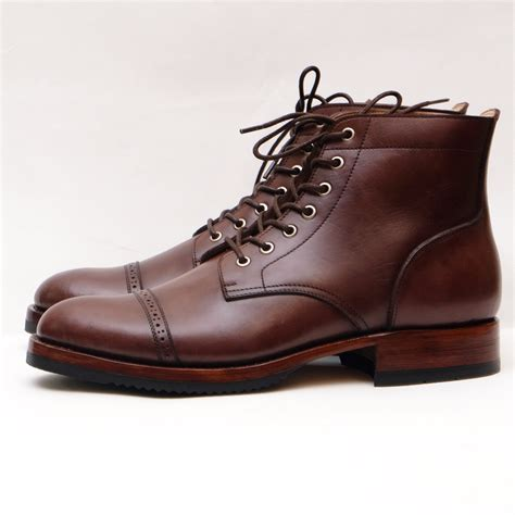 cap toe boots andy cap toe brogue lace up boots brown burnished