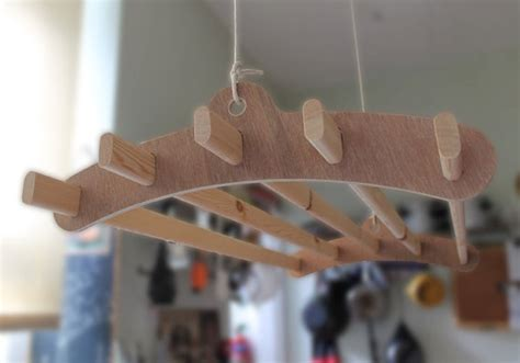 5 lath wooden hanging clothes drying rack or pot rack