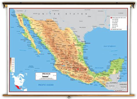 physical maps of mexico mexico physical educational wall map from academia maps