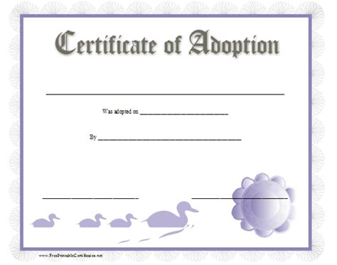 blank adoption certificate template blank adoption certificate pictures