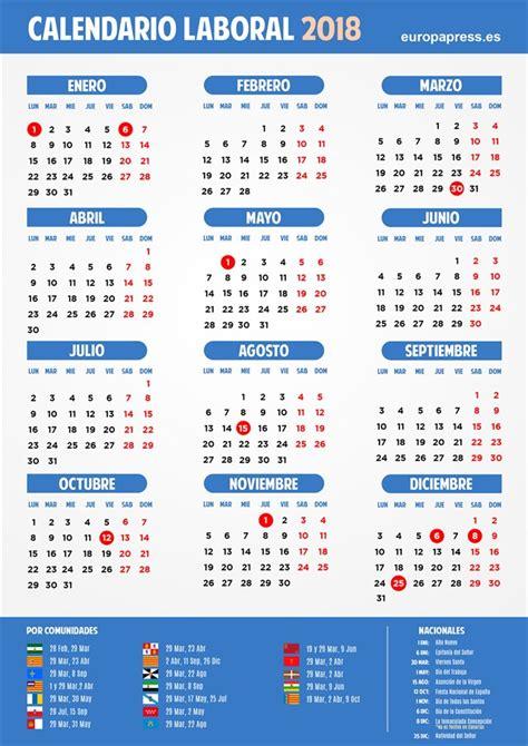 Philippines Calendario 2018 Calendario Laboral 2018 Semana Santa Puentes Y D 237 As Festivos