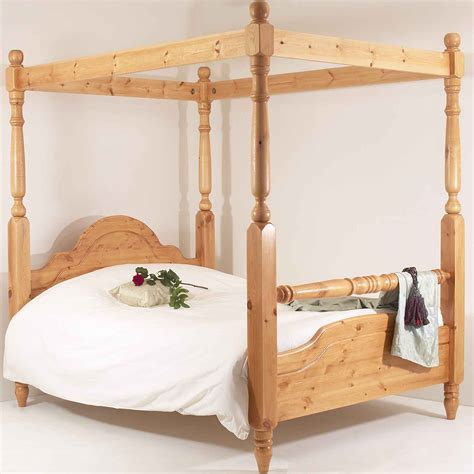 Pine Four Poster Bed Frame 4ft6 Bed Frame Solid Pine Rail Four Poster Ebay