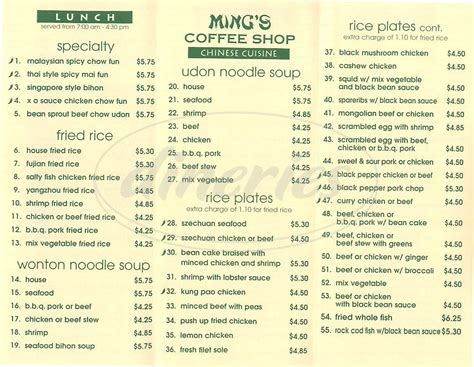 Ming's Coffee Shop Menu   San Francisco   Dineries