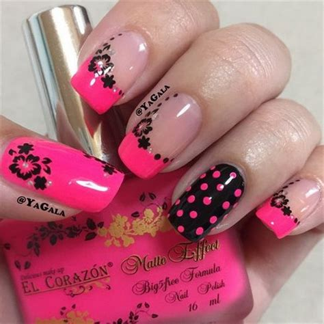 easy nail art black and pink hot pink black nail art nail art ideas