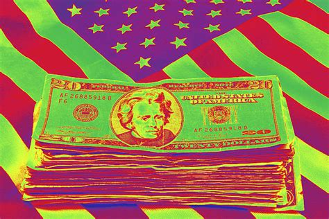american pop artists stack of money on american flag pop by keith webber jr