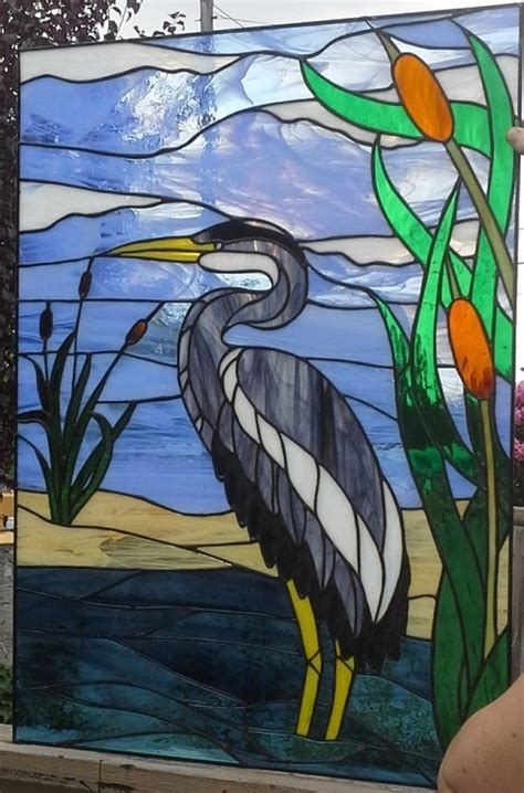stained glass pattern blue heron blue heron stained glass google search stained glass