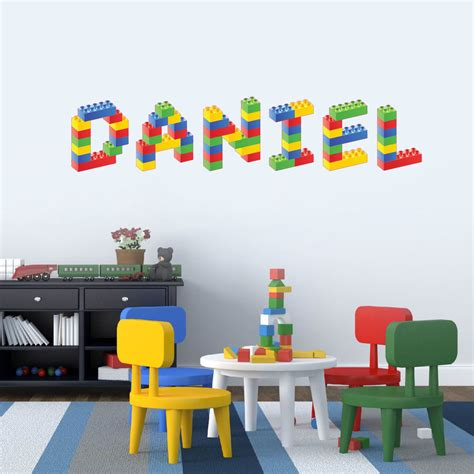 lego wall decals for rooms lego any name personalised children s bedroom playroom wall sticker decal vinyl for the home