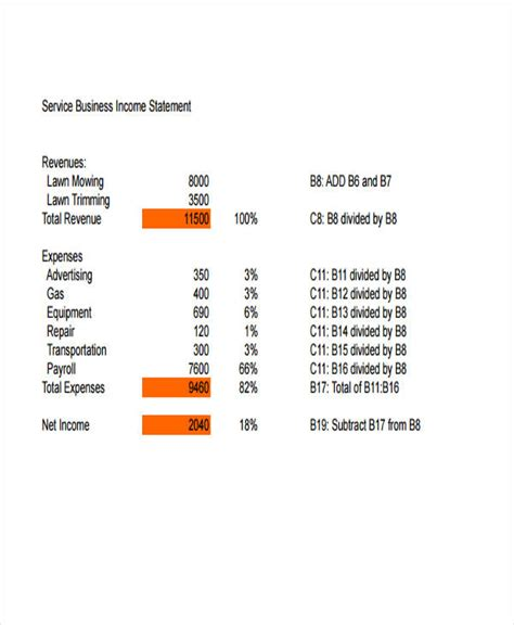 income statement template for service company 50 exles of income statement