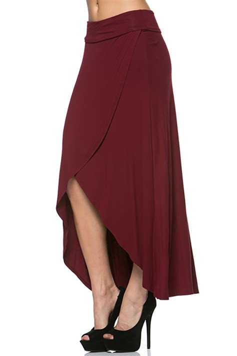 usa asymmetic hi low hem banded waist draped maxi