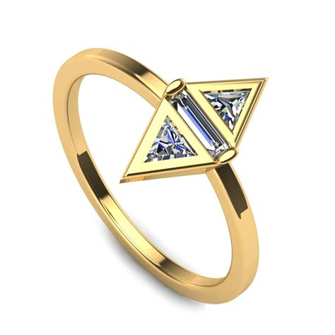 geometric engagement ring in 10k yellow gold