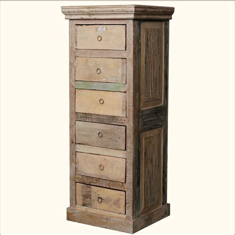 Wooden Storage Tower With Drawers rustic 6 storage drawer reclaimed wood tower jewellery