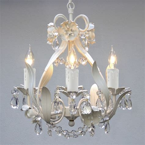 Gallery Mini 4 Light White Floral Crystal Chandelier Mini White Chandelier
