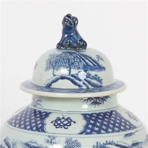 Pair 2 Large Antique Style Koi Lidded Jar Vase Blue White New What S It Worth Traditional Export Style Porcelain Lidded Jars For Sale At 1stdibs