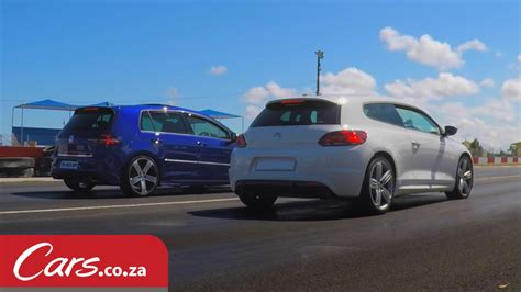 volkswagen scirocco r modified drag race modified vw scirocco r vs stock vw golf 7 r