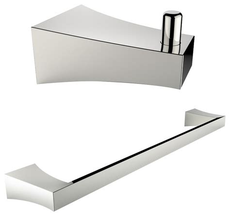 Modern Brushed Nickel Bathroom Accessories Single Rod Towel Rack And Robe Hook Accessory Set Brushed