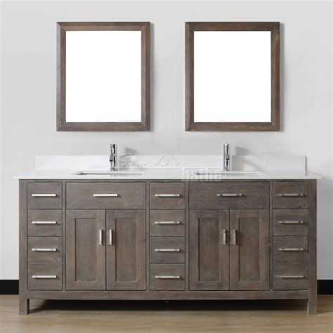 Double sink bathroom vanity kalize 75 french gray finish hand stained distressed french gray