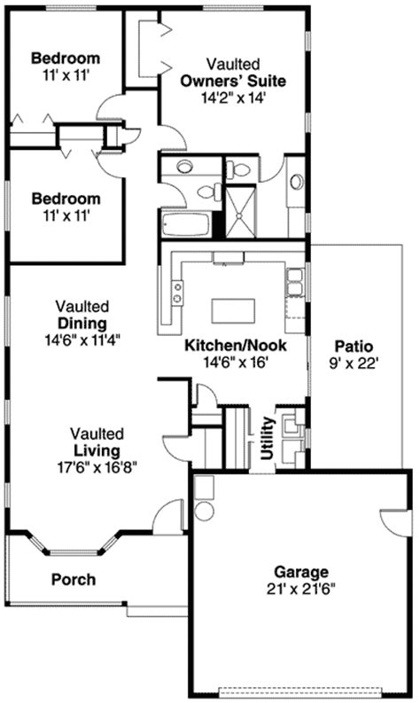 narrow kitchen floor plans narrow lot ranch home plan 72624da architectural