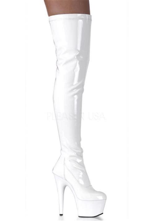 white patent plain stretch thigh high boots