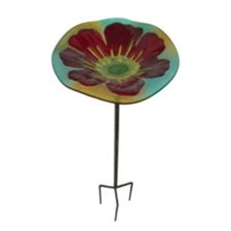 glass metal bird bath with garden stake canadian tire