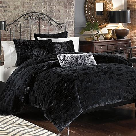 binx faux fur duvet cover set black bed bath beyond