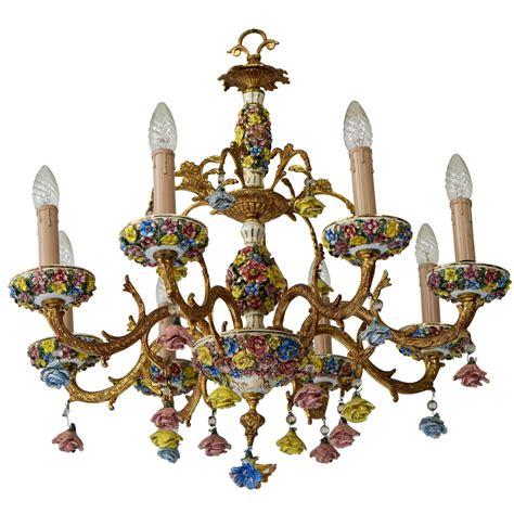 porzellan kronleuchter italian porcelain flower gilt iron chandelier for sale at