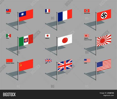 flags of the world during ww2 flag pins world war two eps vector photo bigstock