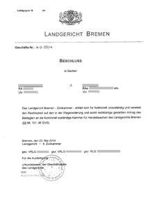 Antrag Gericht Vorlage Verweisung Recht