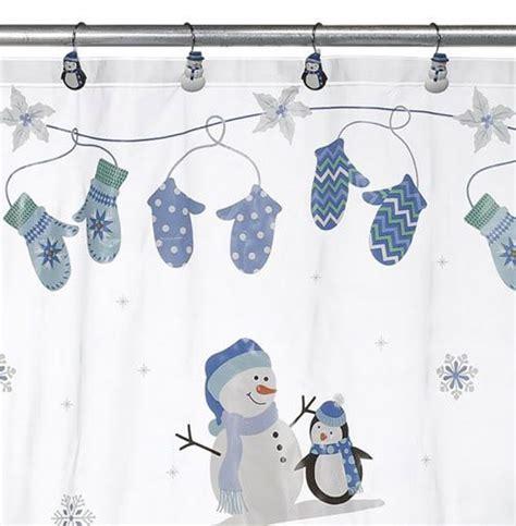 snowman shower curtain set snowman penguin christmas vinyl shower curtain hook set