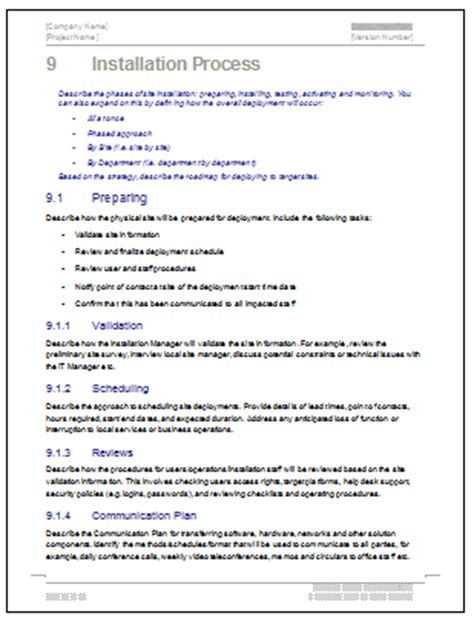 deployment plan template deployment plan template 28 page ms word sle