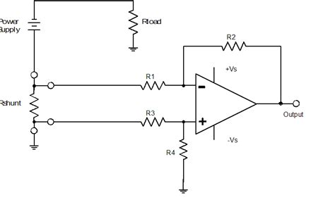 shunt resistor and op lifier determining correct requirements of instrumentation in measuring large current