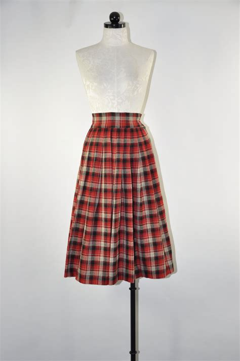 50s pleated wool skirt 1950s plaid skirt by