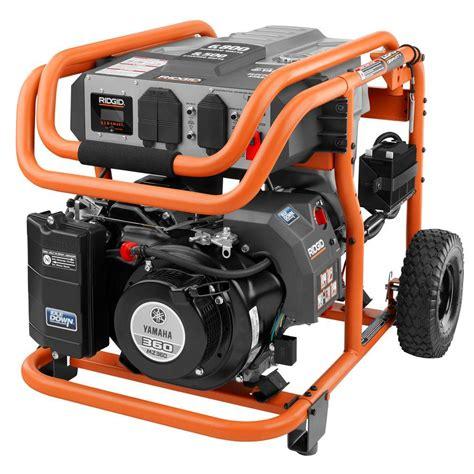 portable electric generator ridgid 6 800 watt idle gasoline powered electric