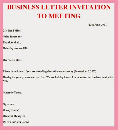 Invitation Letter Format For Business Meeting Sle Business Letter Invitation To A Meeting Sle Business Letter