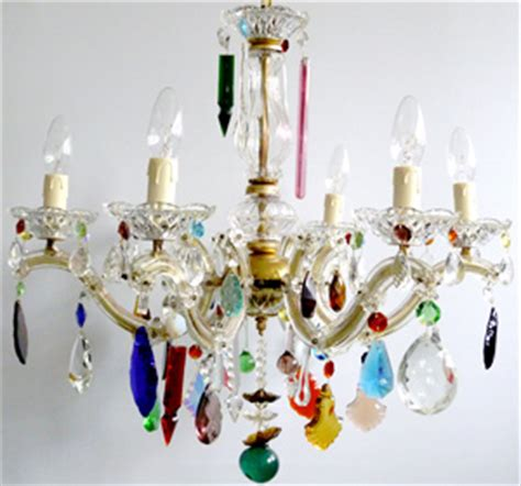Coloured Chandeliers Uk 5 Arm Glass Therese Chandelier With Vintage Coloured Drops The Vintage Chandelier