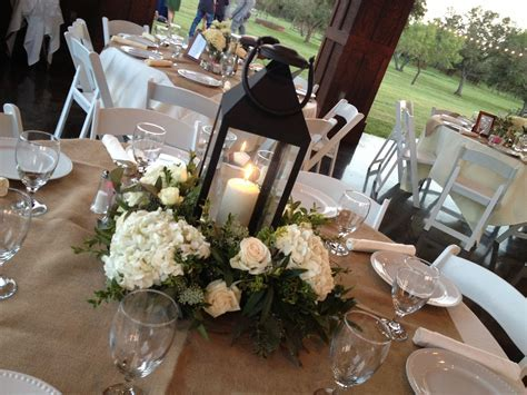 White Lantern And Hydrangea Centerpiece   Wedding