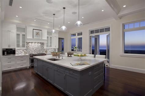 contemporary kitchen with breakfast bar amp pendant light in