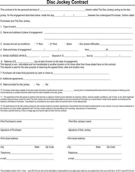Disc Jockey Contract Template dj contract template for excel pdf and word