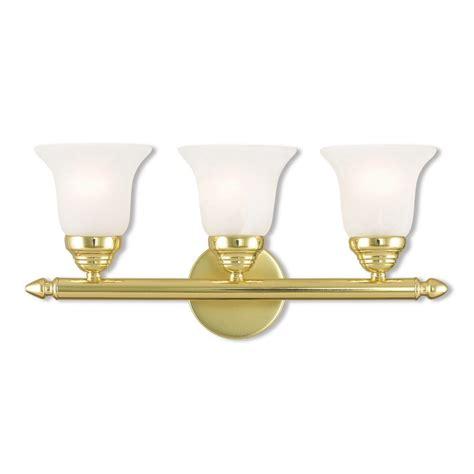 polished brass bathroom lighting livex lighting neptune 3 light polished brass bath light